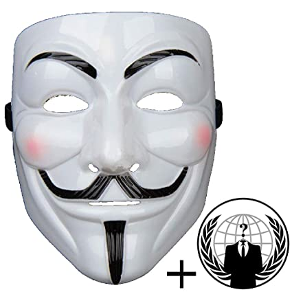 Jessters Anonymous Mask Plus Sticker, Guy Fawkes V for Vendetta, White  Hacker Mask Bundled With Sticker