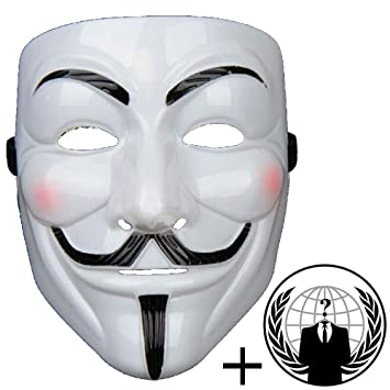 Jessters Anonymous Mask Plus Sticker Guy Fawkes V For Vendetta White Hacker Mask Bundled With Sticker