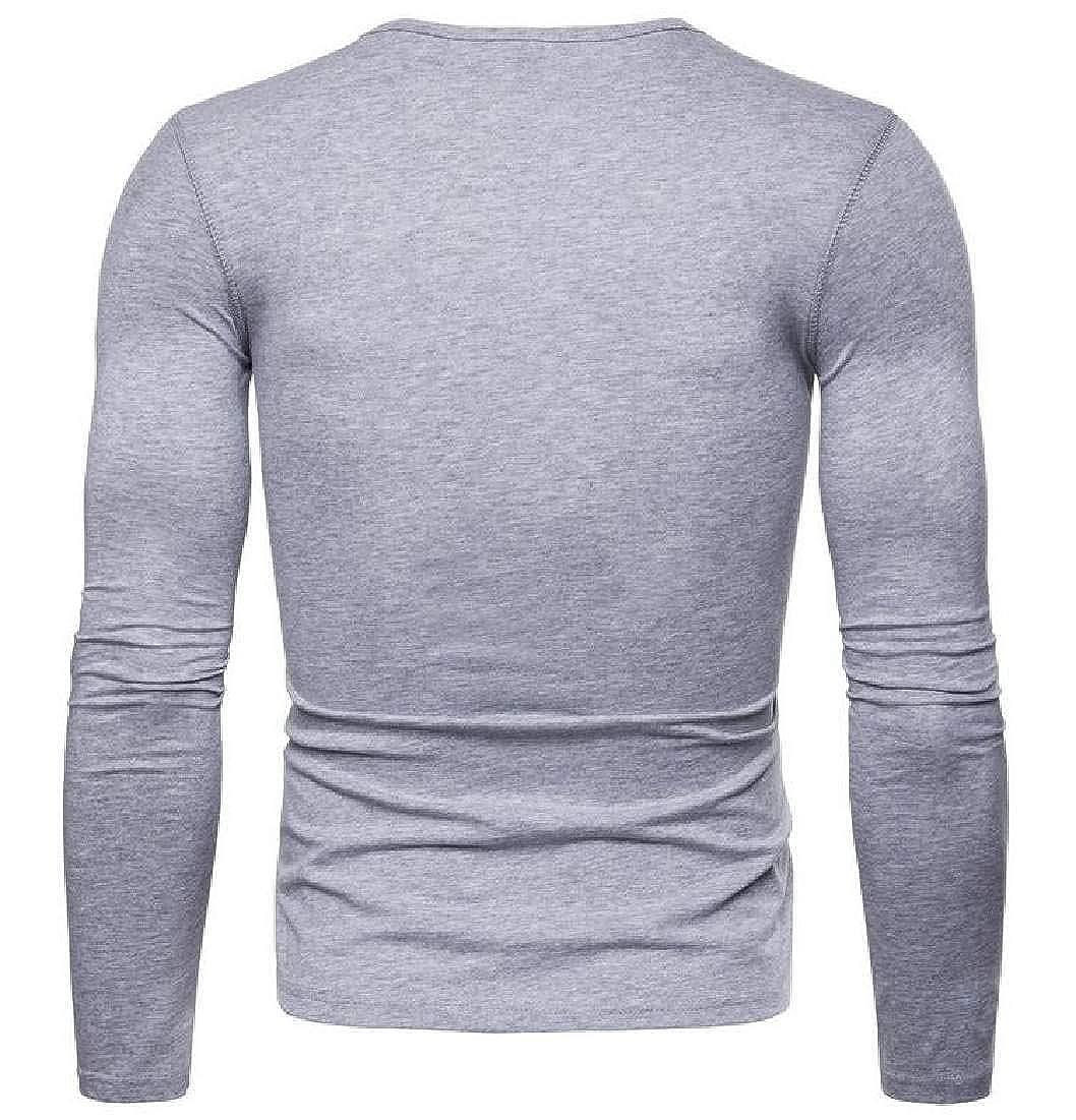 Abeaicoc Mens Solid Color Cotton Autumn Long Sleeve Tee Crewneck Tee T-Shirts