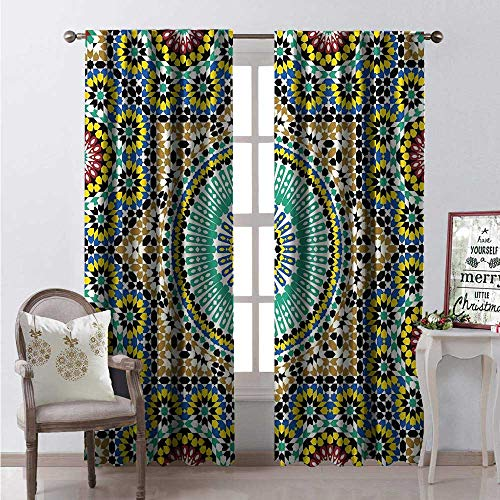 Hengshu Moroccan Blackout Window Curtain Architectural Glaze Wall Tile Ceramic Historical Ancient Traveling Destinations Customized Curtains W108 x L84 Multicolor