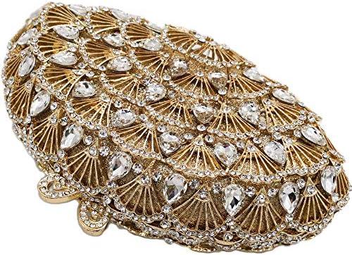 XLJJB Peacock Tail Femmes Cristal Sacs De SoiréeÉviderDiamant Cas Minaudière Embrayage Dîner De Mariage Sac ÀMain Color4 Cristal Sacs