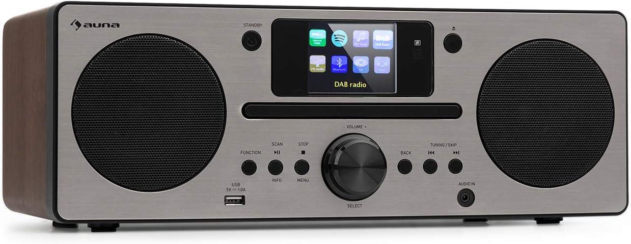 auna Harvard minicadena IR , Internet-/Dab+ y Radio FM , Reproductor de CD , Spotify Connect , Bluetooth , Pantalla HCC de 2,4