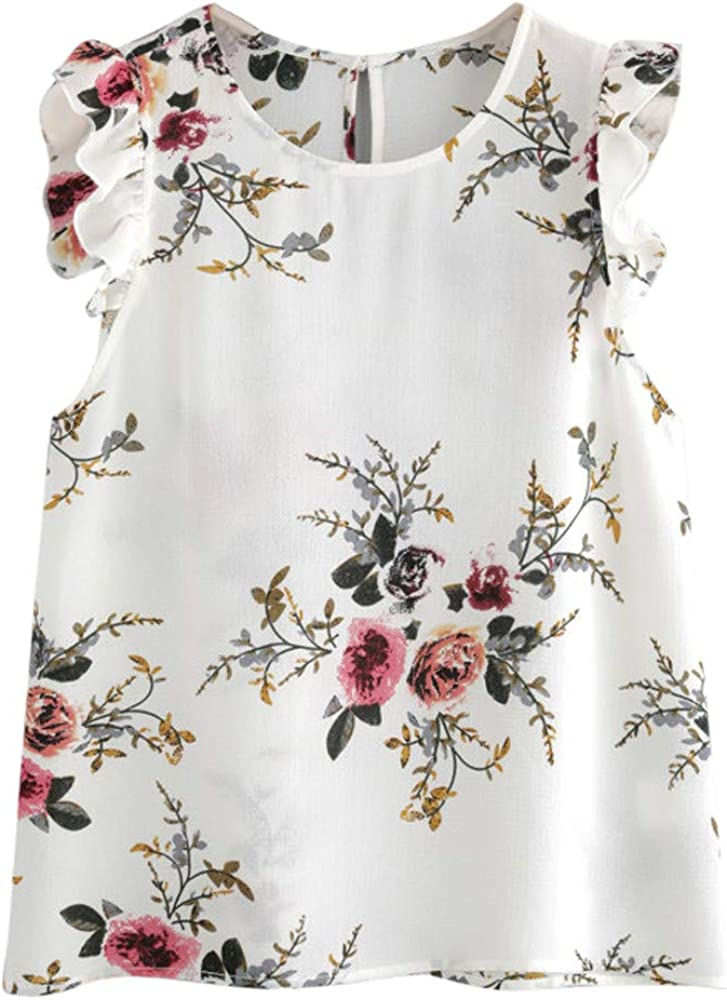 Lookatool Tops Vest Tank Chiffon T Shirt Floral Print Butterfly Sleeve Blouse