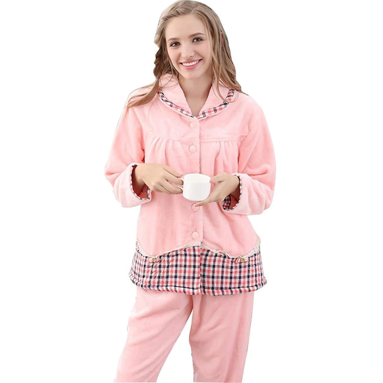 ALUK-Fall and winter coral velvet pajamas fashion long - sleeved plaid suit thickening flannel home service