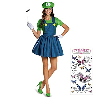 3712141a03fa95 AuraAei マリオ コスプレ レディース 女 大人 ハロウィン 服 大きいサイズ 帽子 髭 コスチューム ルイージ 仮装 (