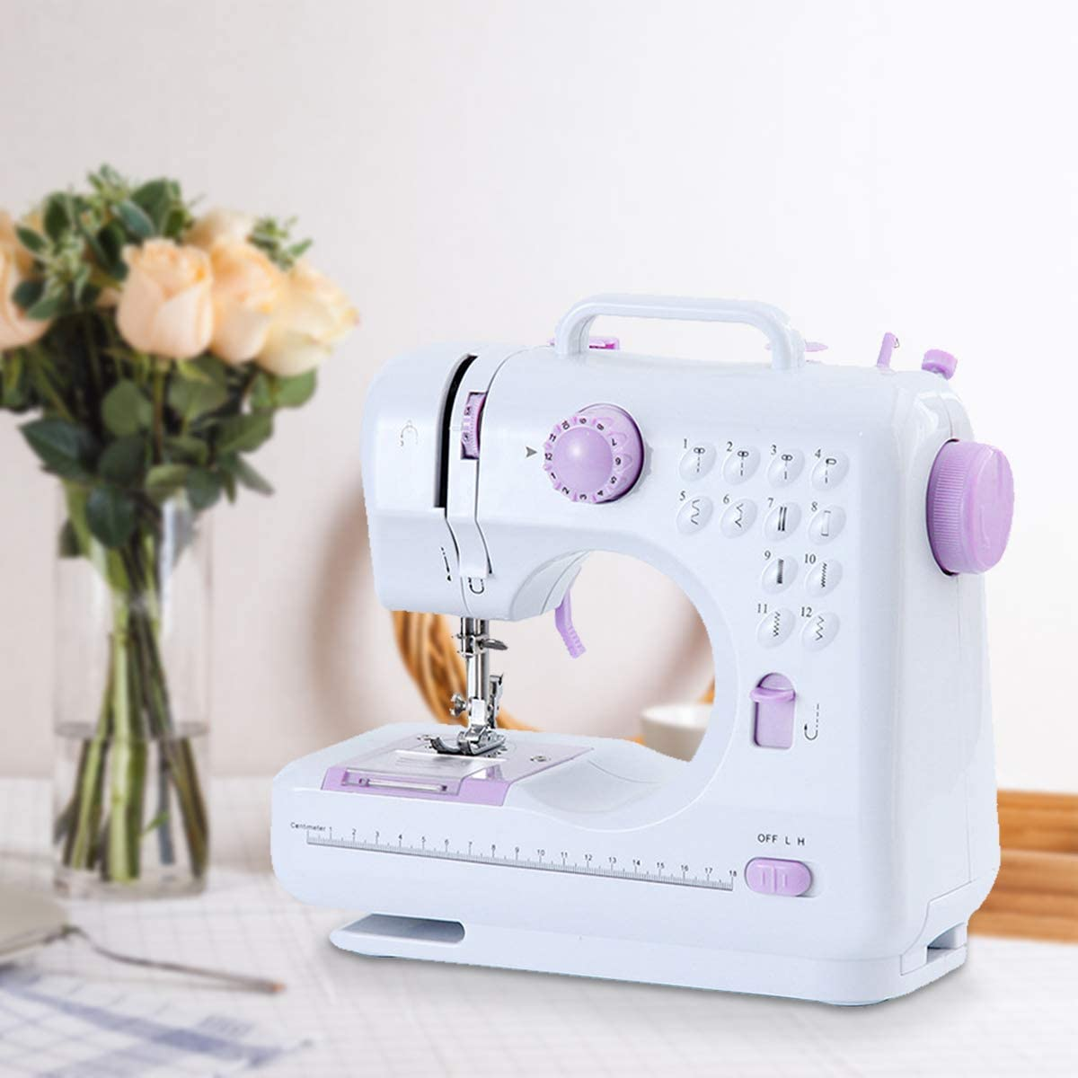 Free-Arm Crafting Mending Beginner Sewing Machine Tailors Electric Household Sewing Machine with 12 Kinds of Floral Stitch for Home