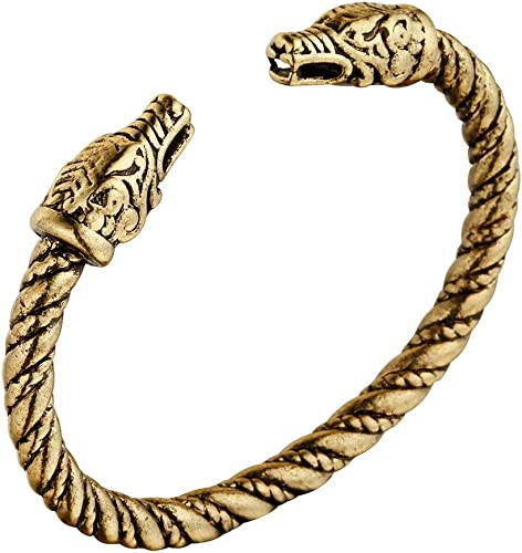 Antique Silver Alloy Norse Viking Dragon Head Bracelet Bangle Men Jewelry Gifts