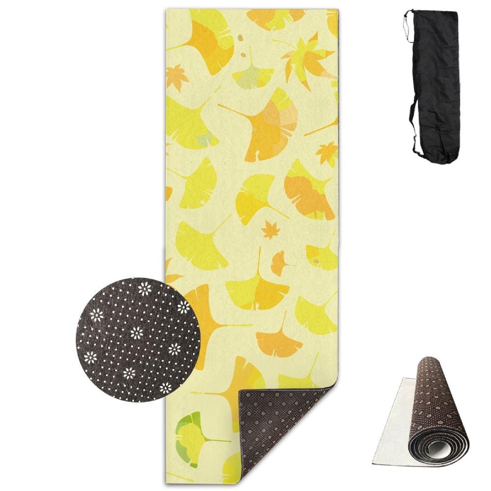 Amazon.com : Ginkgo Leaves Deluxe Yoga Mat Aerobic Exercise ...