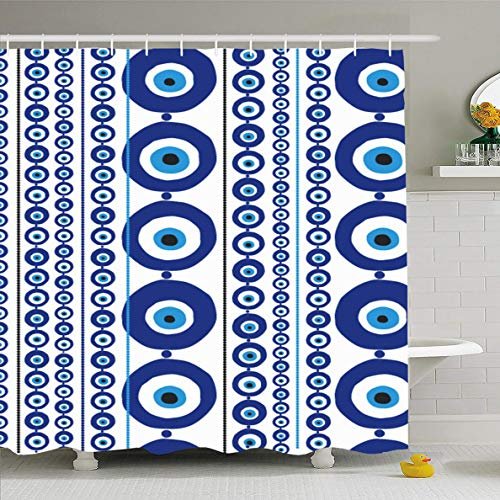Ahawoso Shower Curtain 66x72 Inches Positive Blue Greek Evil Eye Amulet Nazar Turkish Greece Lucky Luck Charm Waterproof Polyester Fabric Set with Hooks - Evil Eye Greece