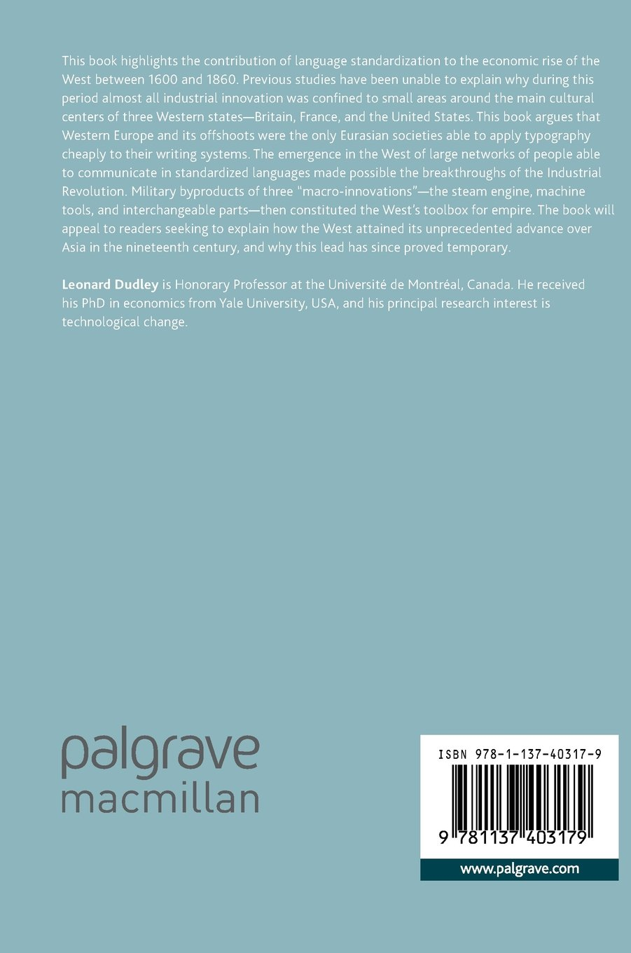 The Singularity of Western Innovation: The Language Nexus by Palgrave Macmillan
