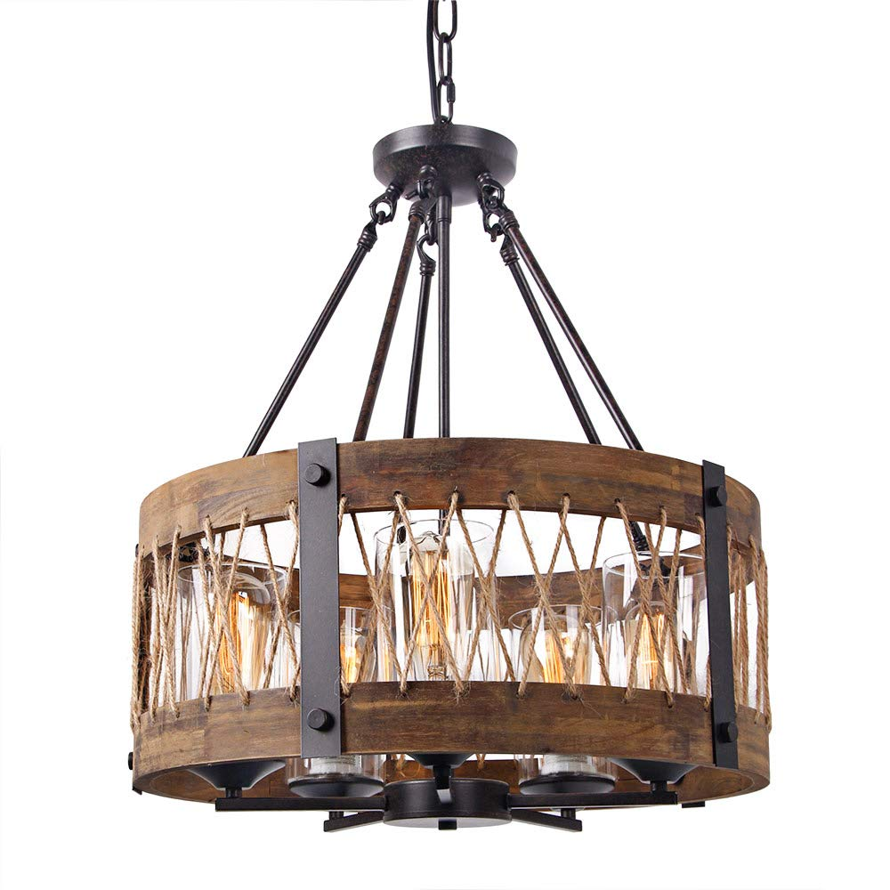 Round Wooden Chandelier with Clear Glass Shade Rope and Metal Pendant Five Lights Decorative Lighting Fixture Retro Rustic Antique Ceiling Lamp