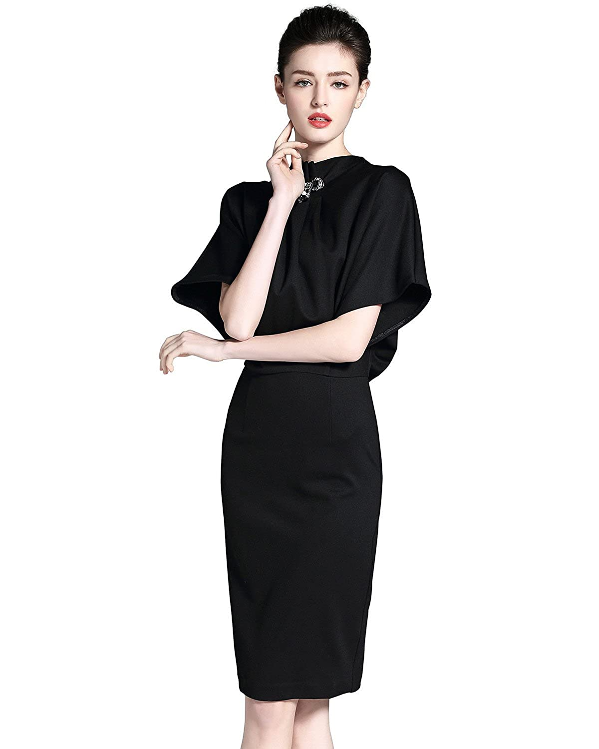 11071d90a11 Burdully Women s Pencil Dress Stand Collar Batwing Sleeve High Waist Knee  Length Elegant Midi Cocktail Dresses at Amazon Women s Clothing store