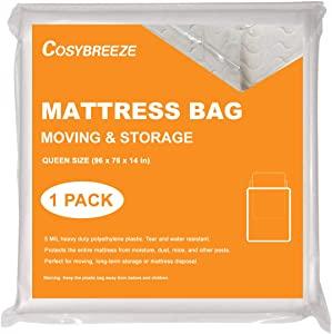 Mattress Bag for Moving, Mattress Storage Bag, 5 Mil Queen Size [1-Pack], Super Thick - Heavy Duty, Protecting Mattress Long-Term Storage and Disposal - 60 x 104 Inch