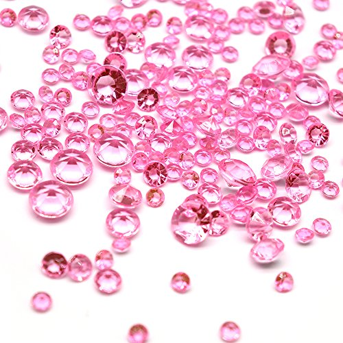 1728pcs Mixed Sizes gems Confetti Culet Faceted Crystal Diamond (Pink) -