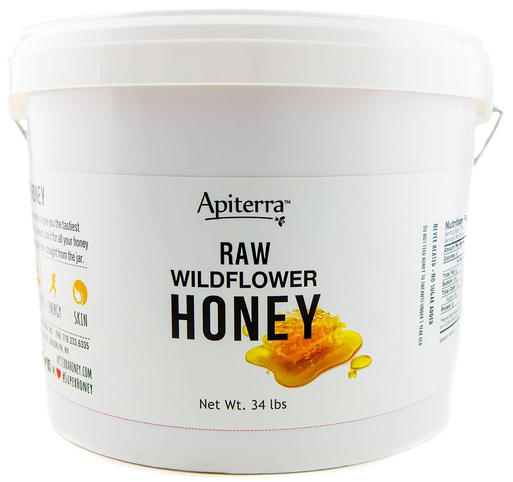 Raw Honey Bulk 34 lbs Bucket by Apiterra