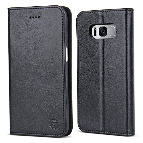 Price comparison product image Galaxy S8 Plus Case, BELK[Elegant Retro]Premium Scratch-Resistant Leather With Card & Cash Slots,Hidden Magnetic,Kickstand Function Slim Flip Folio Wallet Case For Samsung Galaxy S8 Plus - Black