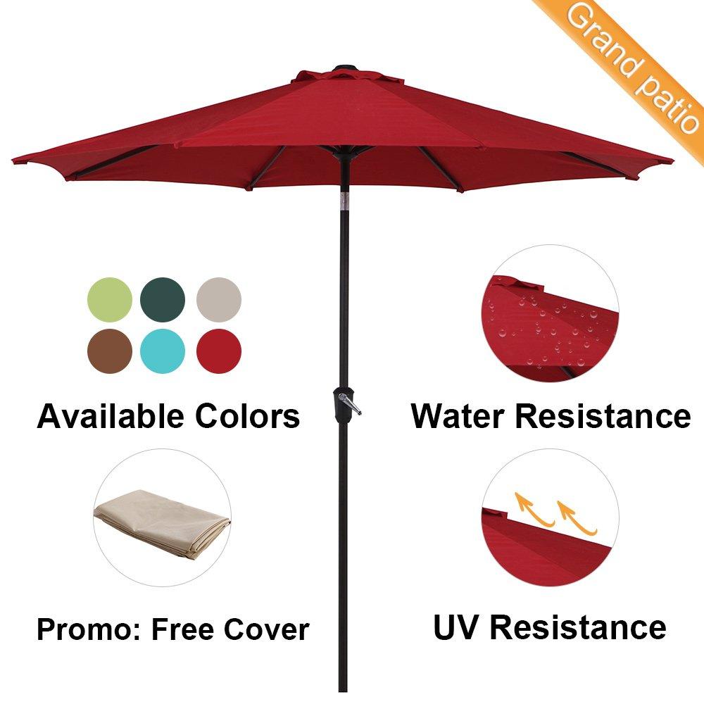 Grand patio 9 FT Enhanced Aluminum Patio Umbrella, UV Protectived Outdoor Umbrella with Auto Crank and Push Button Tilt, Red