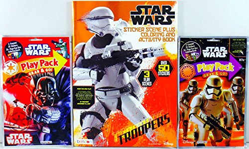 Star Wars Darth Vader / Storm Troopers Play Packs + Star Wars Storm Troopers Sticker Scene Plus Coloring & Activity Book 50 Stickers and 3 Posters! 12 Play Packs and 12 Books