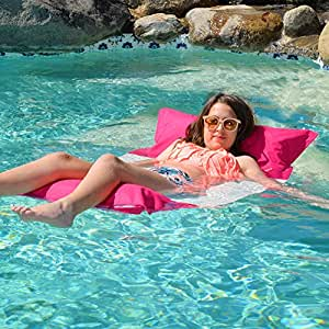 Sundale Outdoor Premium Inflatable Hammock Lounge Luxury Swimming Pool Float Bed Comfortable Hammock Recliner Seat for Adults Kids, 50 x 28 x 7.9 inch (Pink)