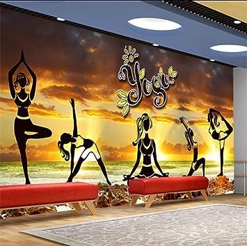 Amazon Com Dalxsh Elegant Aesthetic Yoga Culture Wall Fitness Club Wall Custom Large Mural Green Wallpaper 400x280cm Furniture Decor