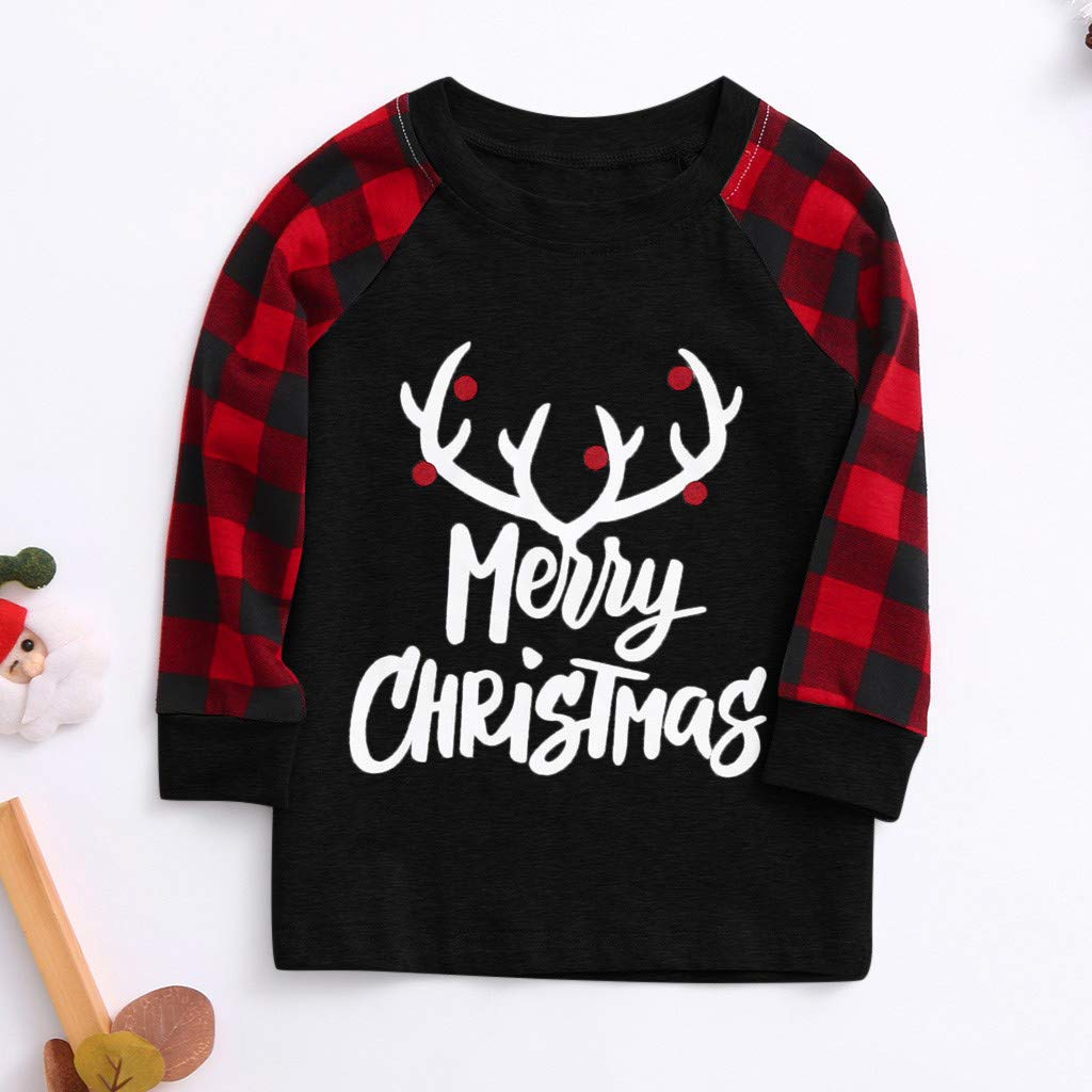 TiTCool Merry Christmas Family Matching Pajamas Sets Red Buffalo Plaids Long Sleeve Tops and Pants Xmas Sleepwear for Kids