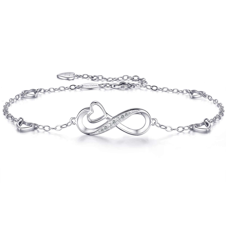 Van Chloe Womens 925 Sterling Silver Infinity Anklet Love Heart Ankle Bracelet Charm Adjustable Large Bracelet Gift for Women Girls