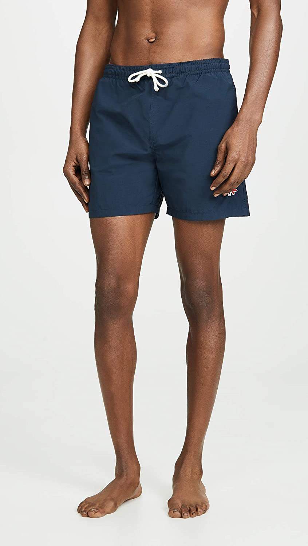 Maison Kitsune Mens Tricolor Fox Swim Shorts