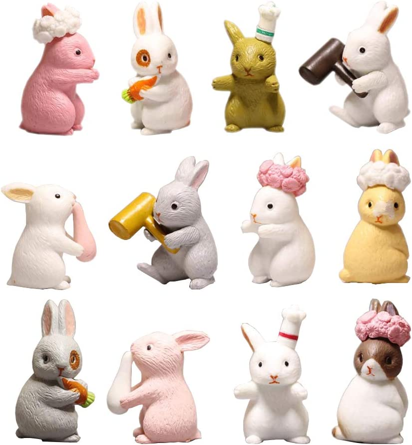 HanYoer 12 pcs Lovely Rabbits Animal Characters Toys Figurines Playset, Garden Cake Decoration, Cake Topper