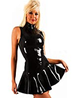 Fashion Queen Women's PVC Zip front Mini Dress Black Clubwear