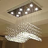 Linght L27.5″ X W15.7 X H27.5″ Rain Drop Contemporary Crystal Rectangle Chandelier Crystal Ceiling Light Fixture Review