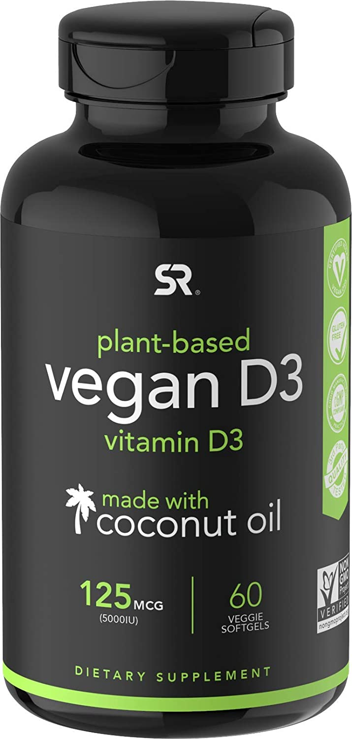 Vegan Vitamin D3 (5000iu/125mcg) Enhanced with Organic Virgin Coconut Oil ~ Bone, Joint and Immune System Support ~ Vegan Certified, Non-GMO & Gluten Free (60 Veggie-Softgels)