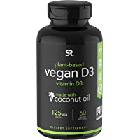 Vegan Vitamin D3 (5000iu/125mcg) Enhanced with Organic Virgin Coconut Oil ~ Bone, Joint and Immune System Support…