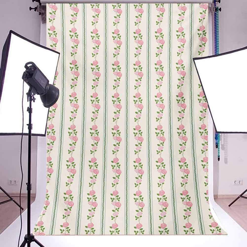 Floral 10x12 FT Photo Backdrops,Country Flower Roses Buds Swirls with White Borders Leaves Art Print Background for Baby Shower Bridal Wedding Studio Photography Pictures Pale Pink Blue and Green