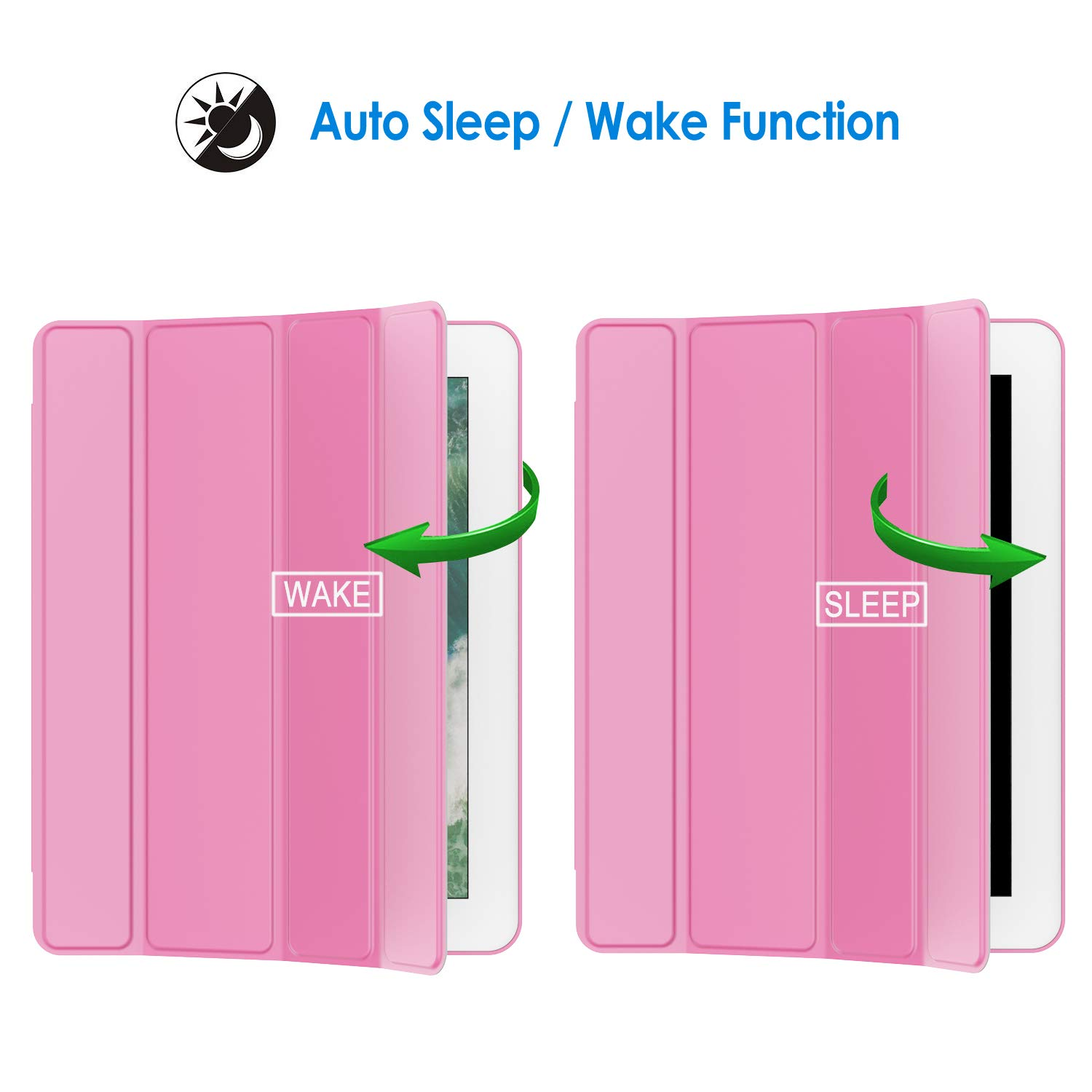 JETech Case for iPad 2 3 4 (Old Model), Smart Cover with Auto Sleep/Wake, Pink