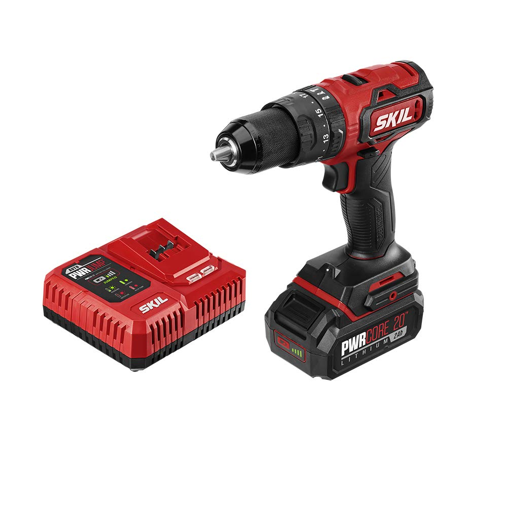 SKIL PWRCore 20 Brushless 20V 1 2 Inch Hammer Drill, Includes 2.0Ah Lithium Battery and PWRJump Charger – HD529402