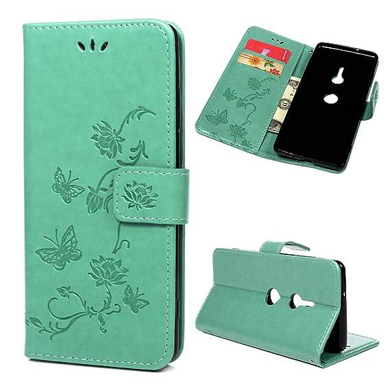 Amazoncom Sony Xperia Xz3 Case Wallet Flip Folio Case Kickstand