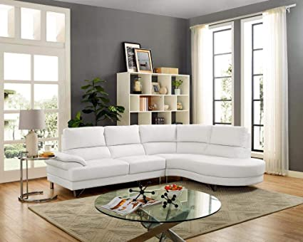 Peachy Amazon Com Lilola Auburn White Leatherette Sectional Pabps2019 Chair Design Images Pabps2019Com