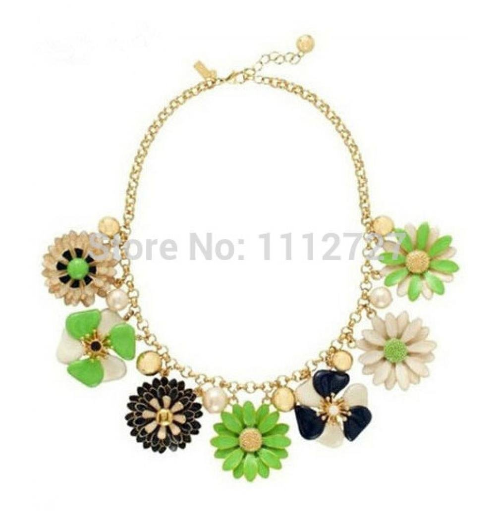 Anzona Flower Bloom Little Daisy Necklace Delicate Crystal Short Jewelry Sweater Chain Female Clavicle Chain Dress Accessory Decoration