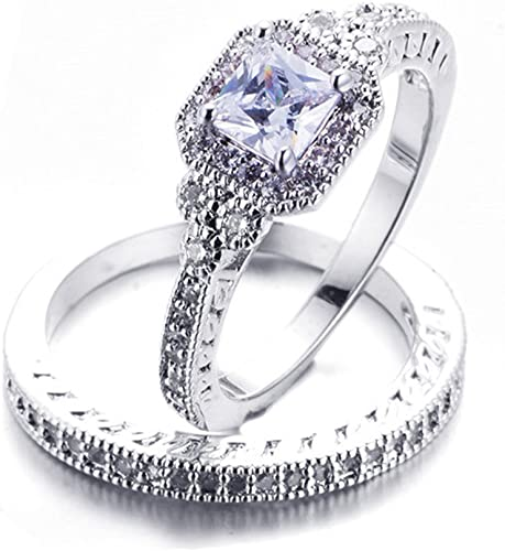 Amazon Com F F Jewel Fashion Princess Cut White Cubic Zirconia