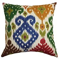 "The Pillow Collection STD-D-20936-MULTI-C100 Green Blue Kaula Ikat Bedding Sham, Standard/20"" x 26"""