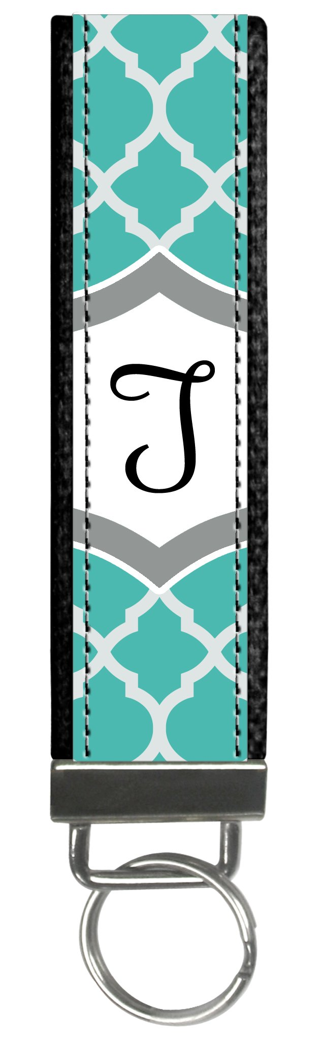 Snaptotes Teal Moroccan Design Monogram Wristlet Keyfob Keychain