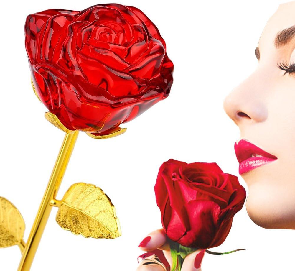 Rosas de cristal chapadas en oro de 24 quilates, Regalo del día de la Madre Navidad Cumpleaños Regalo de Mamá Esposa Amante Novia, Rosa Eterna por Amor en la Vida