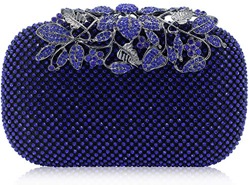 (Dexmay Luxury Flower Women Clutch Purse Rhinestone Crystal Evening Bag for Wedding Party Blue )
