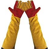 "23.6"" Inch Long Sleeves Welding Safety Gloves, Cotton Lined And Kevlar Stitching Welders Gauntlets Wood Burners Accessories Gloves, Heat Resistant Stove Fire And Barbecue Gloves (23.6 Inches)"