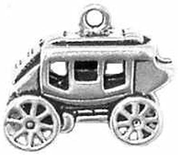 Sterling Silver 3D Old Time Stagecoach Wagon Charm