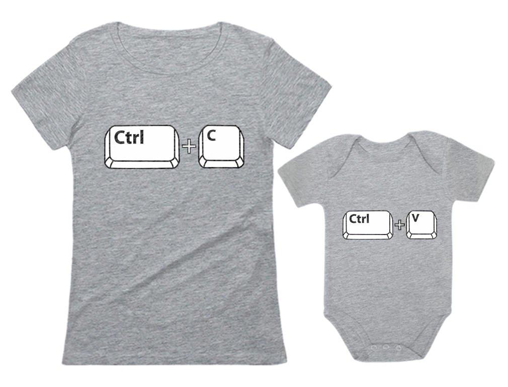 Mom & Baby Girl/Boy Copy Paste Matching Set Women T-Shirt & Baby Bodysuit