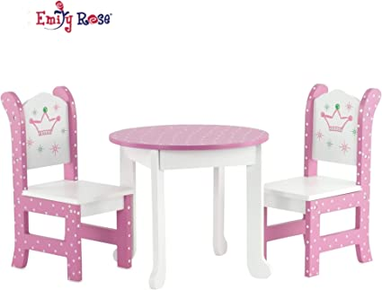 """Emily Rose 13 Inch Doll Furniture for American Girl Dolls - 13 """" Doll Table  and Chairs fits My Life and Journey Girls Dolls"""