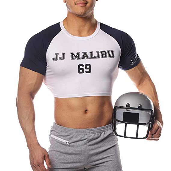 fbd0cce91c6 Amazon.com: JJ Malibu Men's Fun Cropped Tee Fitness Slim Fit Crop Top T  Shirt: Clothing