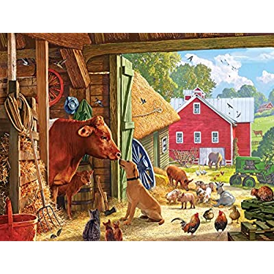 White Mountain Puzzles Barnyard Buddies - 550 Piece Jigsaw Puzzle: Toys & Games