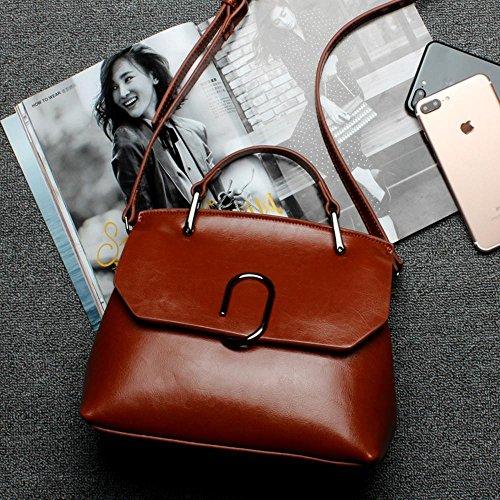 Aoligei Européens et américains de cire peau gros Baotan croix oblique portable cuir sac à bandoulière F